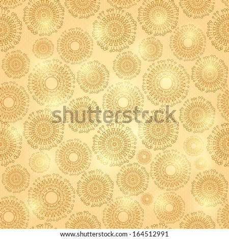 Gold Shiny Seamless Pattern with Abstract Round Elements Background