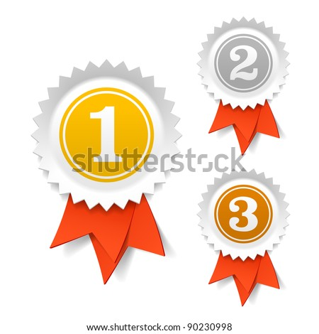 Gold, silver and bronze award ribbons. Vector. - stock vector