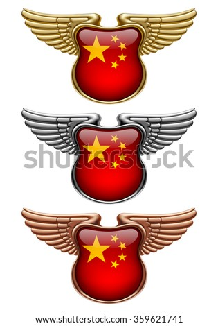 Gold, silver and bronze award signs with wings and China state flag. Vector illustration - stock vector