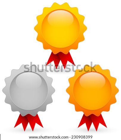 Gold, silver and bronze awards - stock vector