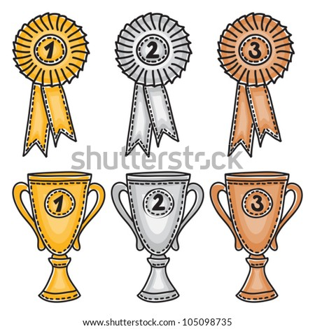 Gold, silver and bronze awards set - hand-drawn illustration - stock vector