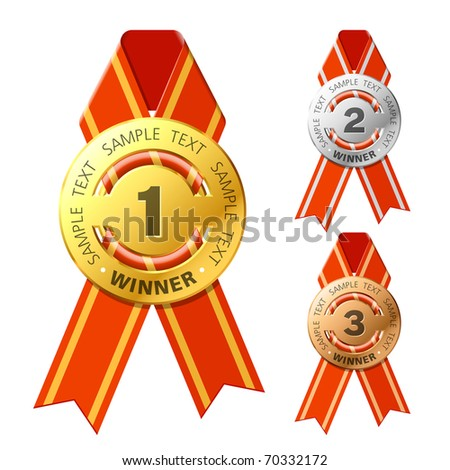 Gold, silver and bronze awards. Vector. - stock vector