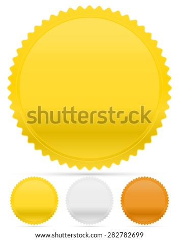 Gold, silver and bronze badges, starburst shapes. Price flashes. - stock vector