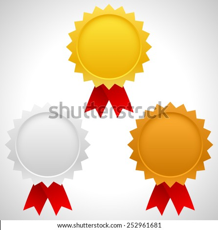 Gold, silver and bronze badges with red ribbons. First three places, award, prizes of contest, competition. Editable vector - stock vector