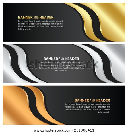 gold, silver and bronze banner arrow style template design set - stock vector