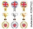 gold, silver and bronze great britain flag rosettes and trophies isolated on white - stock vector