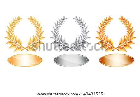 Gold silver and bronze laurel wreath and label for jubilee text or competition winner on white background. Vector eps10 illustration. Raster file included in portfolio - stock vector