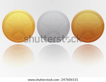 gold, silver and bronze medal - stock vector