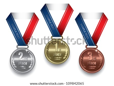Gold, silver and bronze medal - vector illustration - stock vector