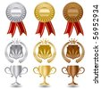 Gold silver and bronze medals award set. - stock photo