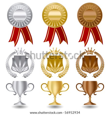 Gold silver and bronze medals award set. - stock vector