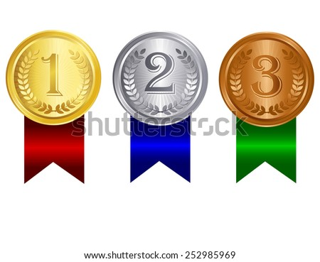 Gold silver and bronze medals for 1st , 2nd and 3rd places with red blue and green ribbons. Isolated clip art / graphic on white background - stock vector
