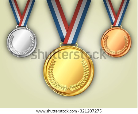 Gold silver and bronze medals on ribbons with shiny metallic surfaces. placement in a sporting competition contest or business challenge