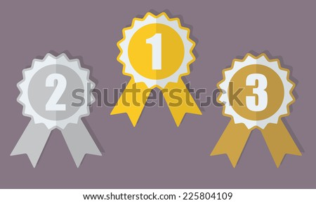 Gold, silver and bronze medals or award ribbons set. Vector icon or sign.  - stock vector