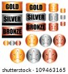 Gold, silver and bronze medals. Vector Icons set. - stock vector