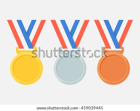 Gold, silver and bronze medals vector set isolated from the background. Icons blank winners medals on a ribbon in a flat style