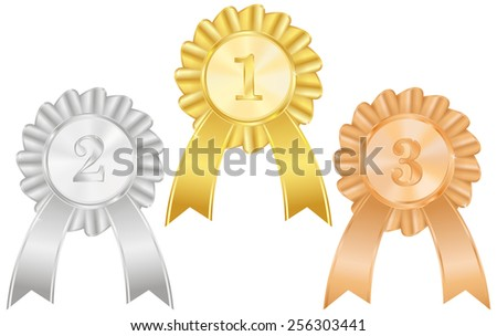 Gold, silver and bronze medals  with awards ribbons. First place, second place, third place  - vector drawing isolated on white background - stock vector