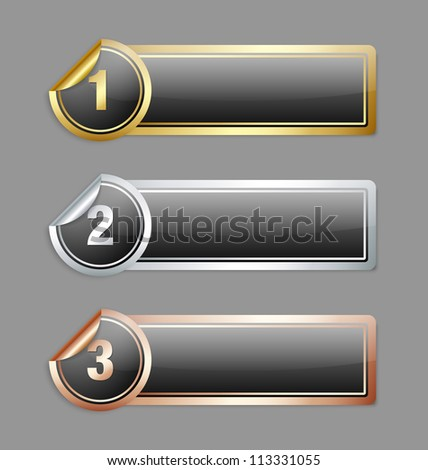 Gold silver and bronze metallic sticker banners isolated on grey background - stock vector
