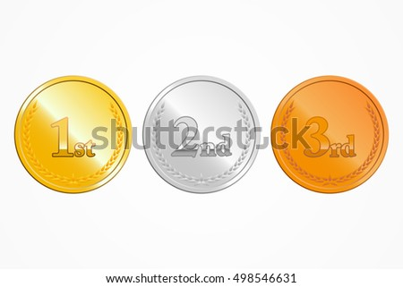 Gold, silver and bronze place medals on white background, vector