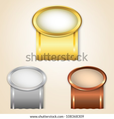 Gold, silver and bronze prize ribbons - stock vector