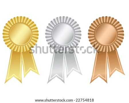 Gold,silver and bronze rosettes - stock vector