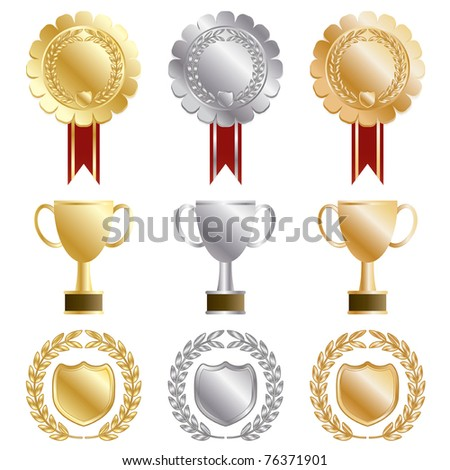 gold, silver and bronze rosettes and trophies isolated on white