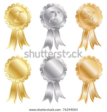 gold, silver and bronze rosettes isolated on white - stock vector