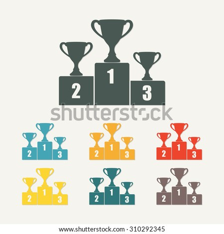 Gold, Silver and Bronze Trophy Cup on prize podium. First place award. Champions or winners Infographic elements. Colorful vector illustration. - stock vector