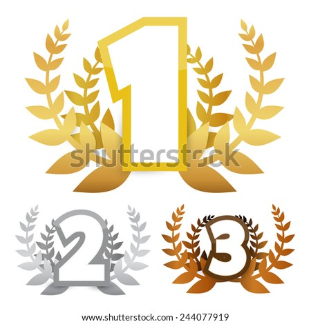 Gold - Silver and Bronze Vector Awards Symbols - stock vector