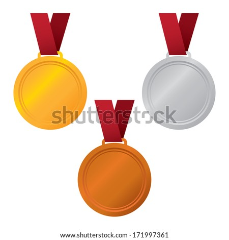 Gold Silver and Bronze Vector Medals - stock vector