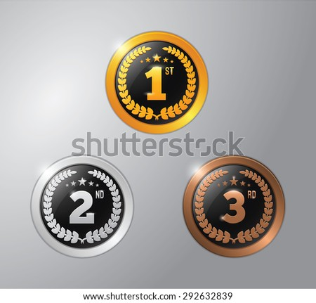 gold, silver and bronze winner badge - stock vector