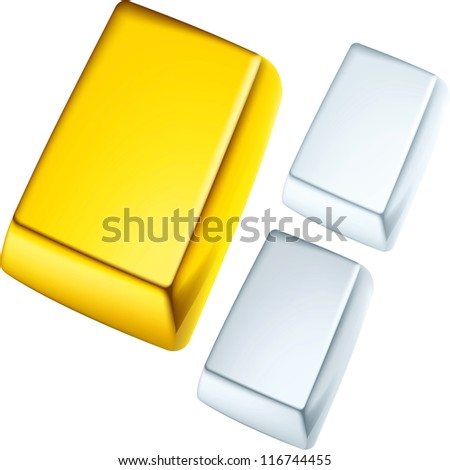 Gold, silver and platinum ingots - stock vector