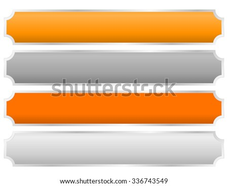 Gold, silver, bronze and platinum plates, plaques, bars. - stock vector