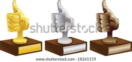 Gold  Silver Bronze award - stock vector
