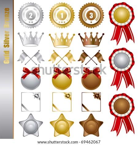Gold silver bronze awards set. Illustration vector - stock vector