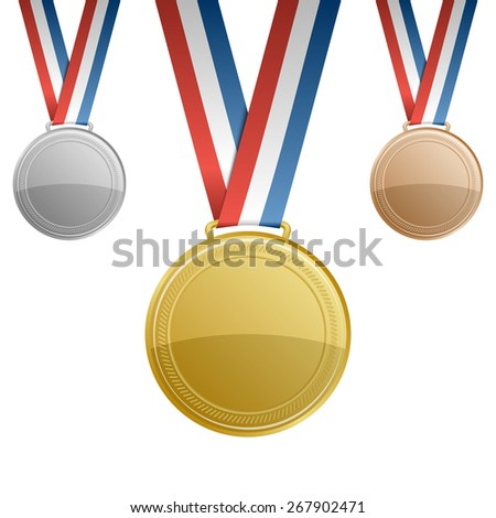 Gold, silver, bronze blank award medals with ribbons - stock vector