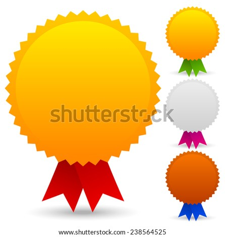 Gold silver bronze medallions with different colored ribbons - stock vector