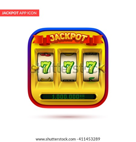 Gold slot machine icon. Eps10 vector illustration. - stock vector