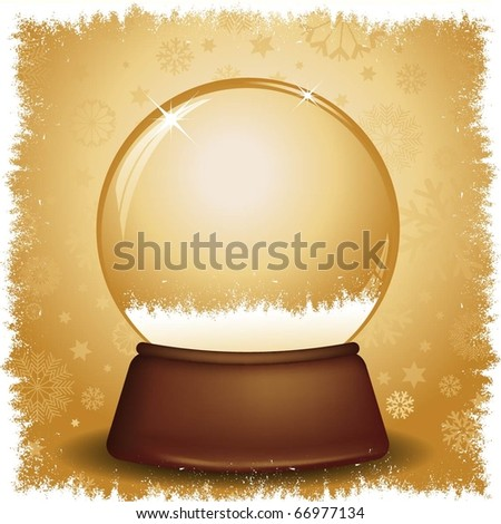 Gold snow globe with snowflake background