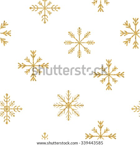 Gold snowflake seamless pattern. Vector illustration.Beautiful Christmas background.  - stock vector
