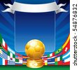 Gold soccer cup with all flags of groups - stock photo