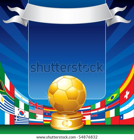 Gold soccer cup with all flags of groups - stock vector