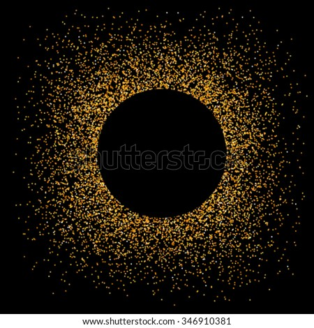 Gold sparkles circle on black background, glamour metallic foil luxury golden glitter texture  vector frame for vip, exclusive certificate, gift cards, shop voucher, Christmas present labels - stock vector