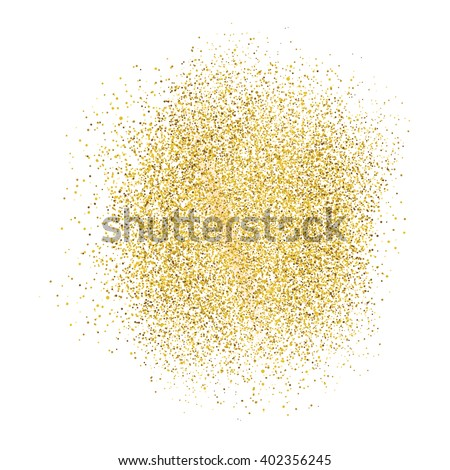 Gold sparkles on white background. - stock vector