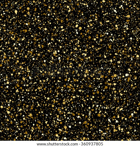 Gold splash or glittering spangles seamless pattern. Hand drawn gold glitter texture. Golden blobs or uneven spots on black background endless template. Festive, birthday, party splatter background. - stock vector