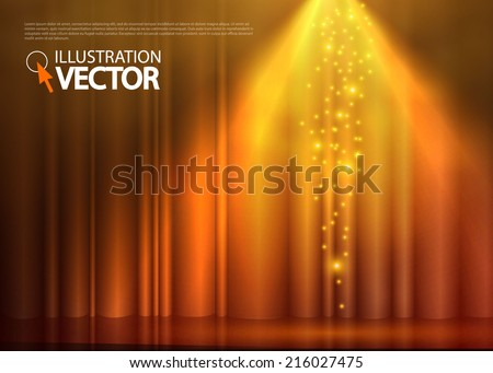 Gold spotlight background. Vector illustration - stock vector