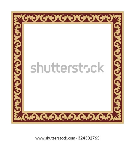 gold square frame with Italian ornament. - stock vector