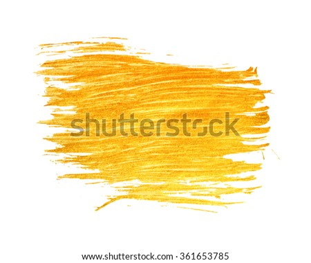 Gold stain isolated on white background. Abstract design element for inscription, banner, card, invitation, postcard, poster. Vector illustration. - stock vector
