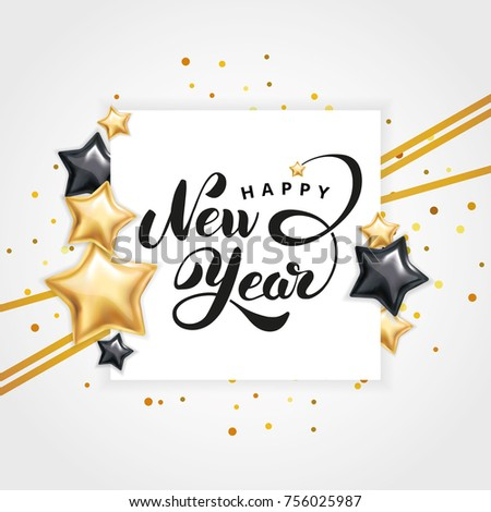 Gold star happy new year invitation stock photo photo vector gold star happy new year invitation background banners christmas banner with text stopboris Choice Image