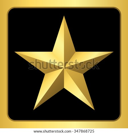 Gold star icon. Pentagonal sign with gradient. Elegant symbol of achievements and victories. Design element for your logo, Product quality rating, etc isolated on black background. Vector illustration - stock vector
